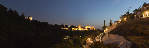 Panoramic photo of the Alhambra at night. Stock Photography