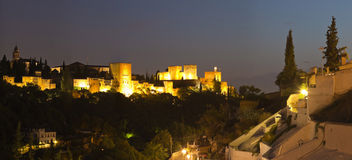 Panoramic photo of the Alhambra at night. Royalty Free Stock Image