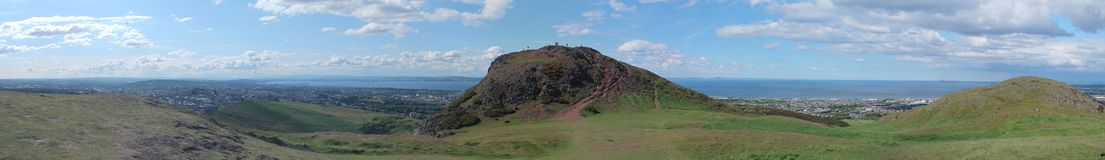 Panoramic photo of Arthur's Seat and Edinburgh Stock Image