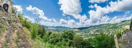 Panoramic photo of Banska Stiavnica from calvary hill Stock Photo