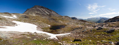 Panoramic photo of Besseggen Ridge in Jotunheimen National Park Royalty Free Stock Images