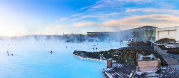Panoramic photo of Blue Lagoon in Iceland Royalty Free Stock Photos
