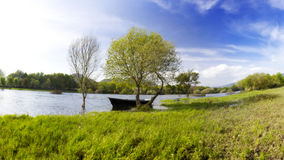 Panoramic Photo of a Boat in Ponte de Lima. Portugal Stock Photo