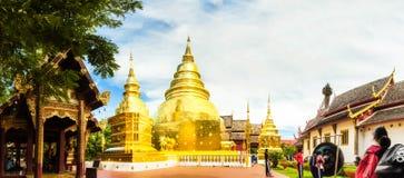 Panoramic photo Buddha Thailand temple Wat Prasingh Royalty Free Stock Photography