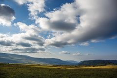 Panoramic photo of Caucasus mountain landscape Stock Photos