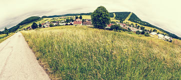 Panoramic photo of Cicmany village, retro filter Stock Photo