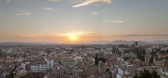 Panoramic photo of the city of Granada at sunset. Stock Images