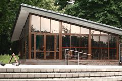Panoramic photo.close up. cafe building in the city Park.  stock image