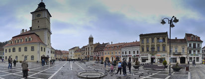Council Square. Panoramic photo of Council Square of Brasov Royalty Free Stock Photos