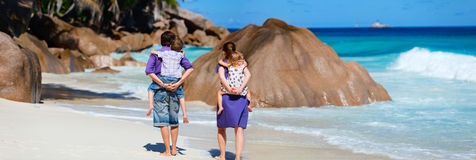 Panoramic photo of family on vacation Stock Images