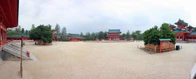 Panoramic photo of famous Heian Jingu Shrine in Kyoto Royalty Free Stock Images
