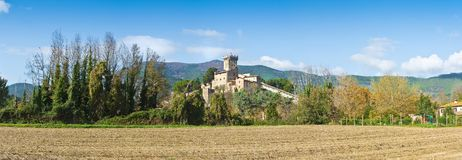 Panoramic photo of the famous medieval citadel of Vicopisano Italy - Tuscany - Pisa. The citadel of Vicopisano was was built in 1434 and designed by the great royalty free stock photo