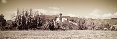 Panoramic photo of the famous medieval citadel of Vicopisano Italy - Tuscany - Pisa. The citadel of Vicopisano was was built in 1434 and designed by the great royalty free stock photography