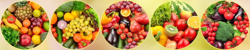 Panoramic photo fresh fruits and vegetables in round frame on bl Stock Photography