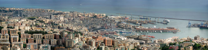 Panoramic photo of Genoa. Overview of the Italian city of Genoa from the mountains Stock Image