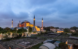 Panoramic photo of Hagia Sophia church. And mosque in Istanbul, Turkey Royalty Free Stock Images