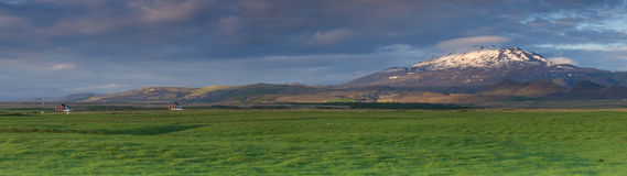 Panoramic photo of Hekla volcano Royalty Free Stock Photo