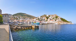 Panoramic photo of Hydra Greece Royalty Free Stock Images