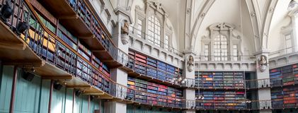 Panoramic photo of the interior of the historic Octagon Library at Queen Mary, University of London, Mile End UK.