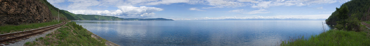 Panoramic photo of lake Baikal royalty free stock image