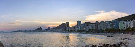 Panoramic photo of Leme and Copacabana beaches Royalty Free Stock Photography
