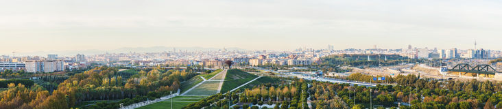 Panoramic photo of Madrid. Panoramic view of Madrid, Spain from the Manzanares Lineal Park Stock Images