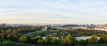 Panoramic photo of Madrid. Panoramic view of Madrid, Spain from the Manzanares Lineal Park Stock Photo