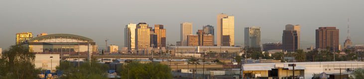 Panoramic Photo of Phoenix Arizona at Sunrise Stock Photography
