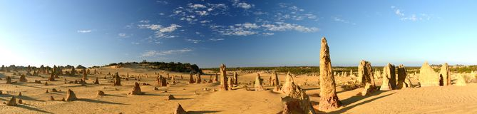 Panoramic photo of Pinnacles desert at sunrise. Nambung national park. Cervantes. Western Australia. Australia. The Pinnacles are limestone formations within stock photography