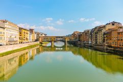 Panoramic photo of the Ponte Vecchio in Florence Italy. stock photo