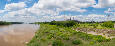 Panoramic photo of power station in Warsaw Stock Image