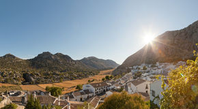 Panoramic photo of pueblo blanco at sunset. Royalty Free Stock Photos
