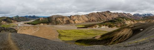 View from Rainbow Mountains Landmannalaugar. Panoramic photo of Rainbow mountains Landmannalaugar on Iceland. On the left you can see the camping grounds Stock Images