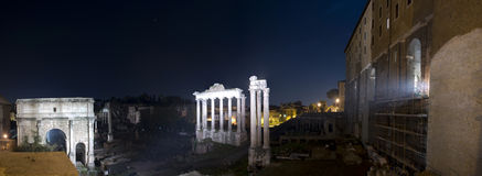 Panoramic photo Roman Forum Stock Images
