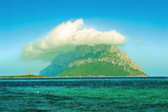 Panoramic photo in Sardinia. In the background a small island Royalty Free Stock Images