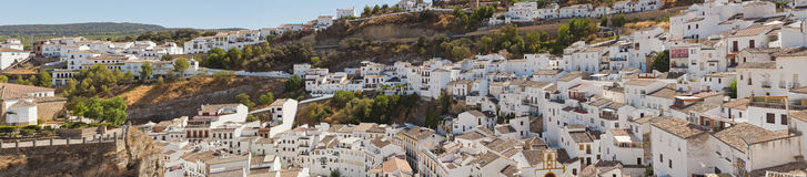 Panoramic photo of Setenil de las Bodegas. Royalty Free Stock Images