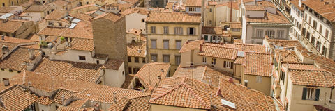 Panoramic photo showing red tiled roofs of Italy Royalty Free Stock Image