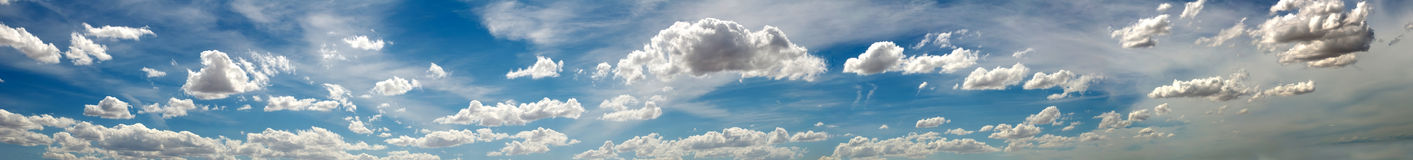 Panoramic photo of the sky with clouds Royalty Free Stock Photography