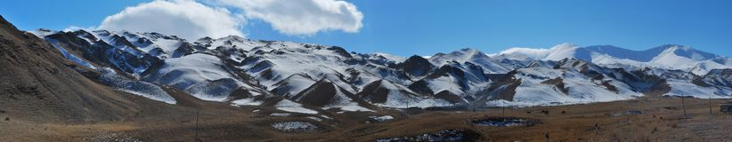 Panoramic photo of a snowy mountain range in the early morning. stock photography