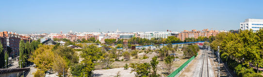 Panoramic photo of a typical neighborhood in Madrid Stock Photo