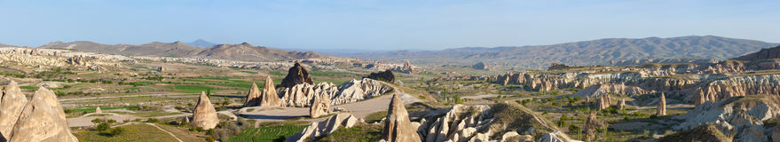 Panoramic photo of unusual rocky landscape in Cappadocia, Turkey Stock Image