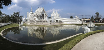 Panoramic photo of Wat Rong Khun Stock Image