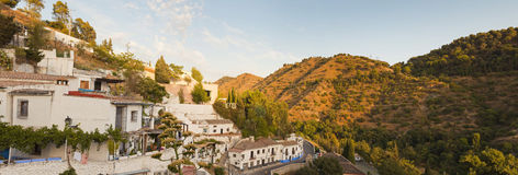 Panoramic photo of white village in Granada. Royalty Free Stock Image