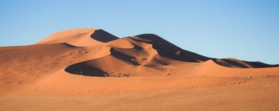 A panoramic photograph of the geometric shapes of the sand dunes. Sossusvlei, Namibia royalty free stock photos