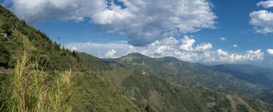 Panoramic photograph of mountains royalty free stock image