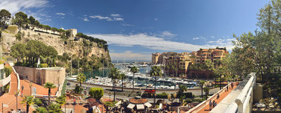 Panoramic photograph of port Fontvielle, Monaco Stock Images