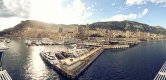Panoramic photograph of principality of Monaco Stock Photos