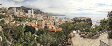 Panoramic photograph of principality of Monaco Stock Photos
