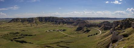 View From Scotts Bluff. Panoramic photograph taken from the top of Scotts Bluff National Monument in Nebraska royalty free stock image