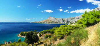 Panoramic photos coast of Omis in Croatia Royalty Free Stock Photography